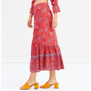 Minkpink Lucia Boho Floral Button Front Maxi Skirt